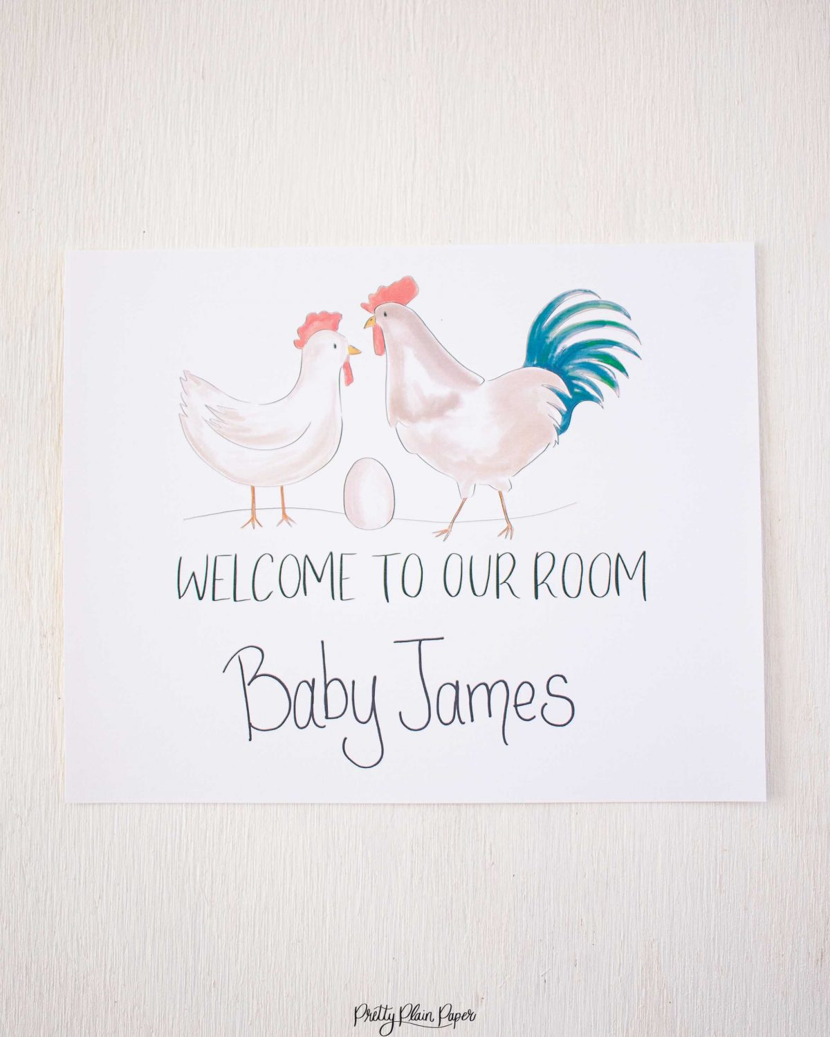 Pretty Plain Paper Farm Delivery Door Welcome Sign
