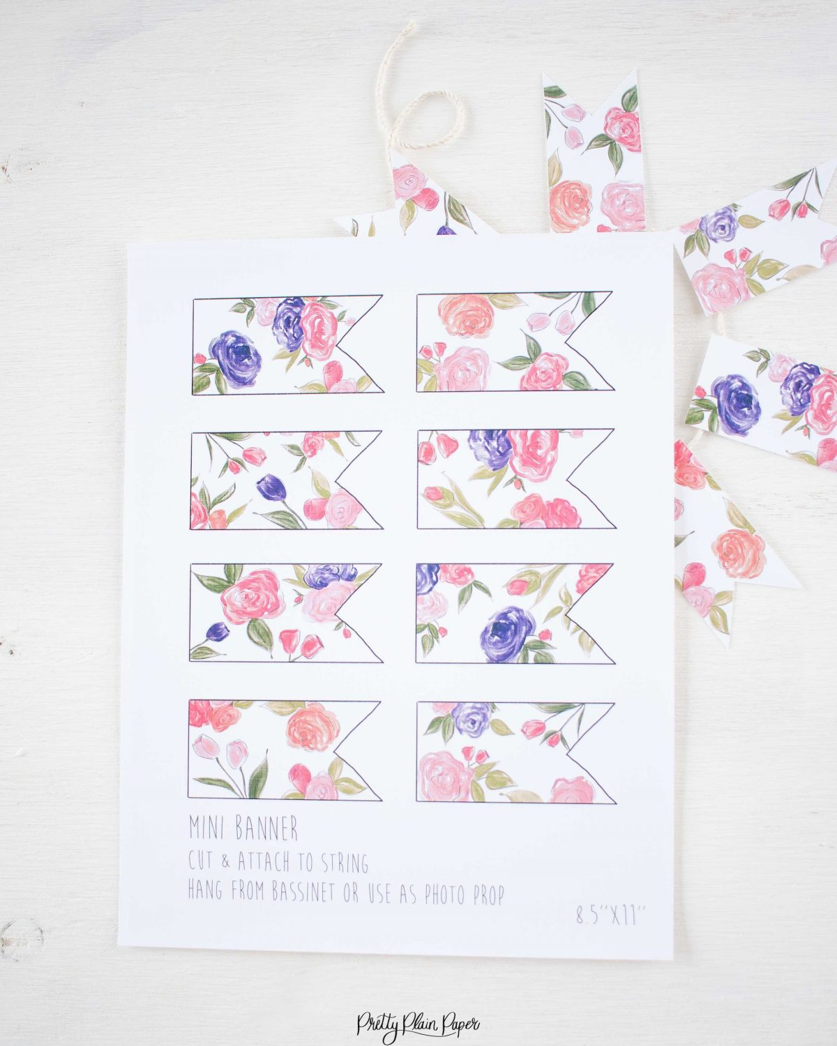 Pretty Plain Paper Coral, Pink, and Purple Floral Banner