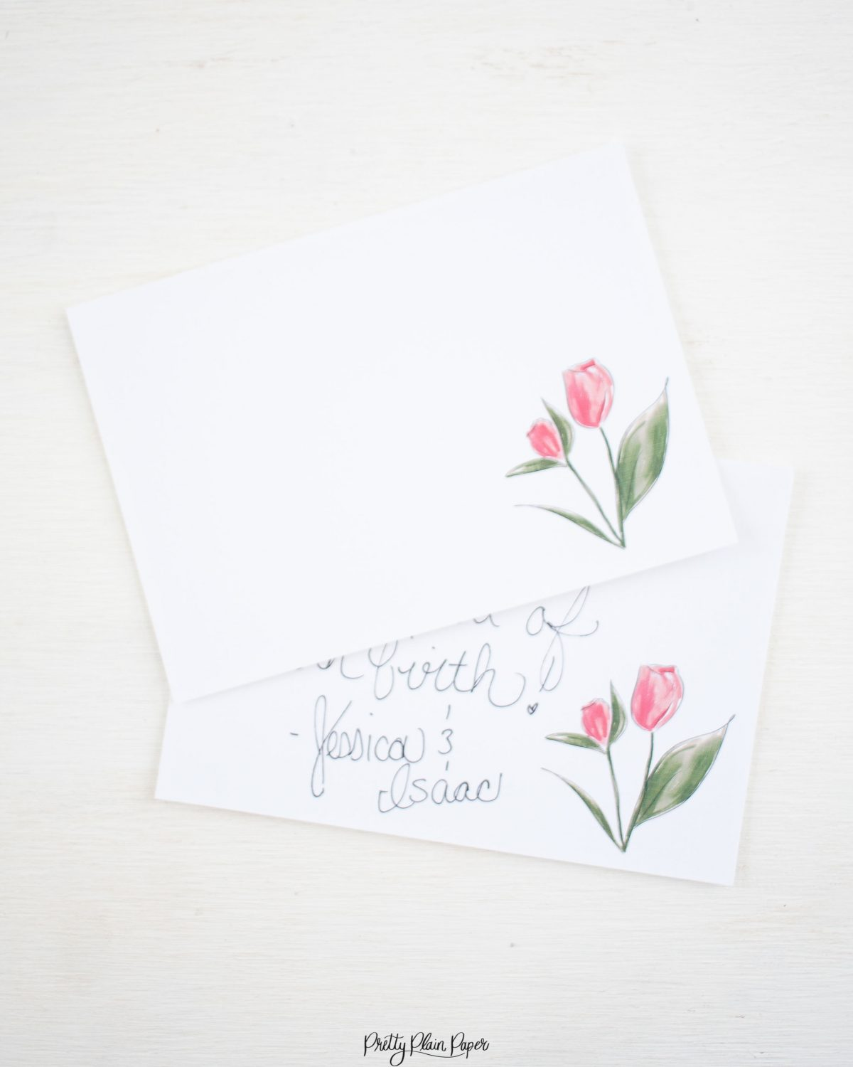 Pretty Plain Paper Coral, Pink, and Purple Floral Note Card