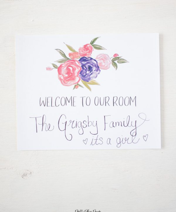 Pretty Plain Paper Coral, Pink, and Purple Floral Welcome Sign