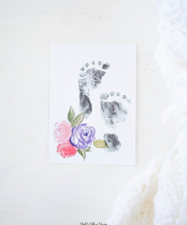 Pretty Plain Paper Newborn Baby Footprint Card Printable