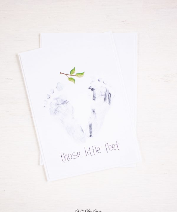 Pretty Plain Paper Newborn Baby Footprint Card Printable
