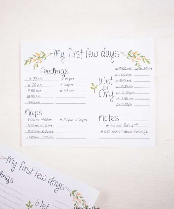 Greenery with Yellow Floral Baby's First Days Printable