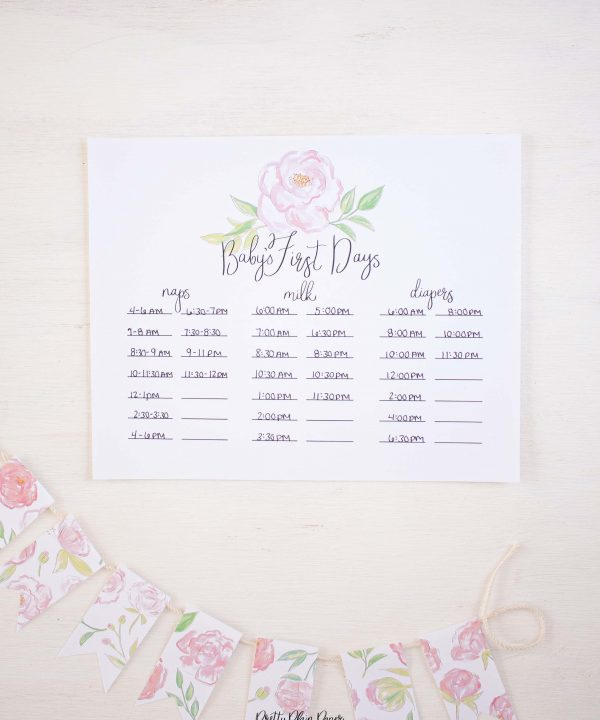 Pink Peonies Baby's First Days Printable