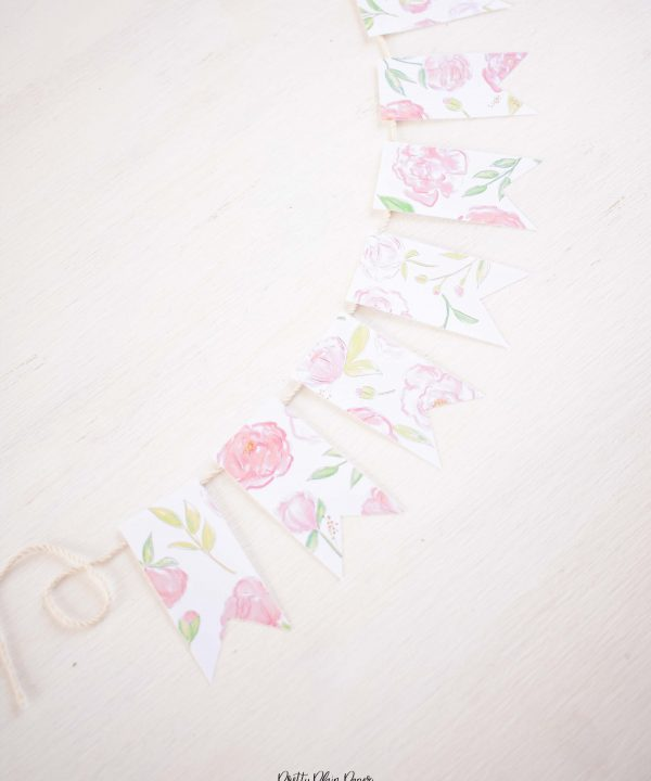 Pretty Plain Paper Pink Peonies Floral Banner
