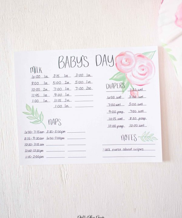 Pretty Plain Paper Baby's First Days Printable