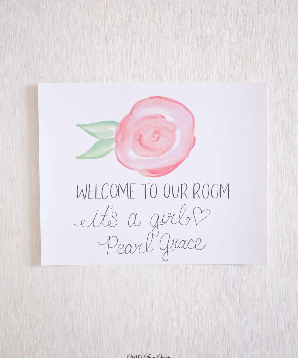 Pretty Plain Paper Pink Roses Welcome Sign