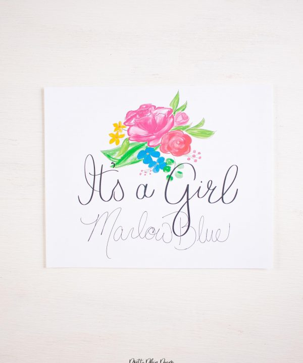Pretty Plain Paper Rainbow Floral Welcome Sign