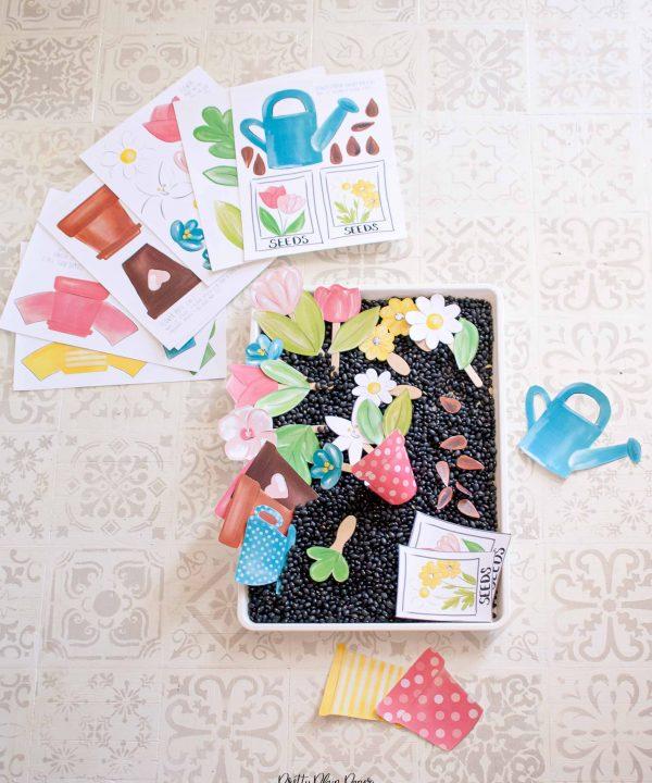 Flower Garden Sensory Bin Printables by Pretty Plain Paper