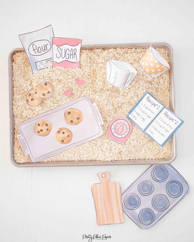 Baking Cookies Sensory Bin Printables by Pretty Plain Paper