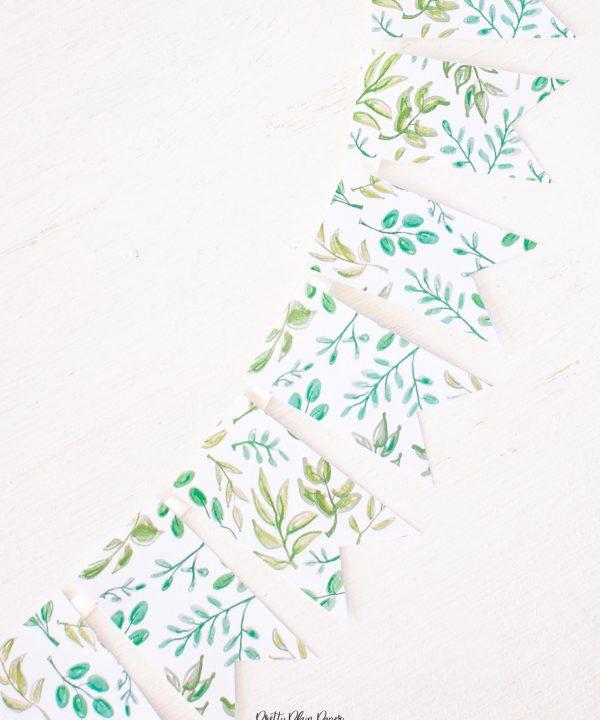 Pretty Plain Paper Simple Greenery Banner