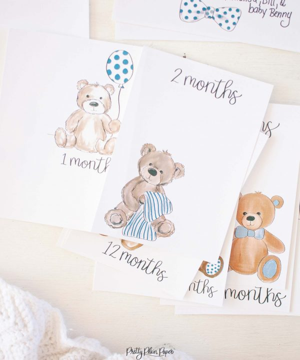 Pretty Plain Paper Teddy Bears Monthly Milestone Photo Cards