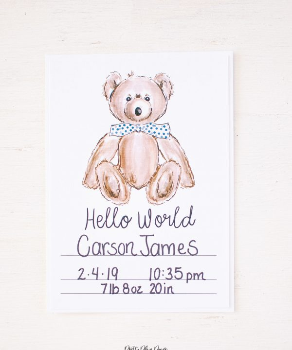 Pretty Plain Paper Newborn Birth Stats Cards Printable