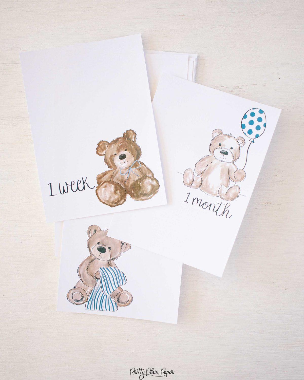 Pretty Plain Paper Teddy Bears Monthly Milestone Photo Cards