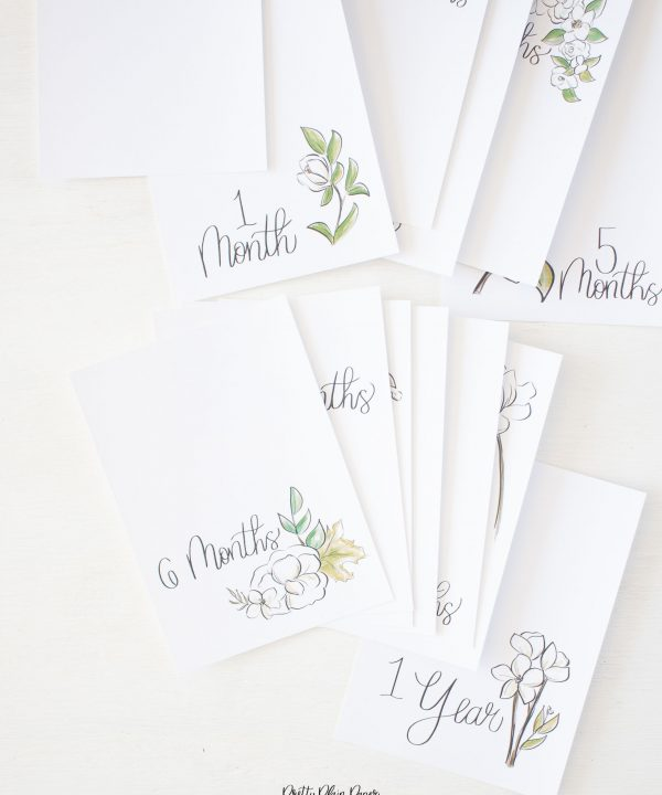 Pretty Plain Paper White Floral Monthly Milestone Photo Cards Printables