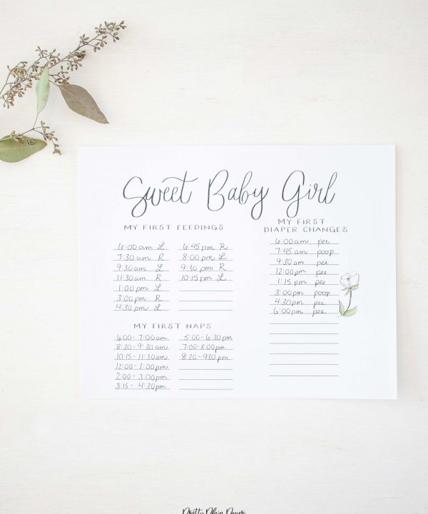 White Floral Baby's First Days Printable