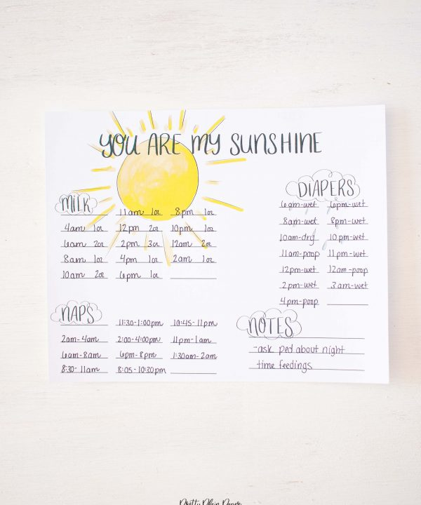 You Are My Sunshine Baby's First Days Printable