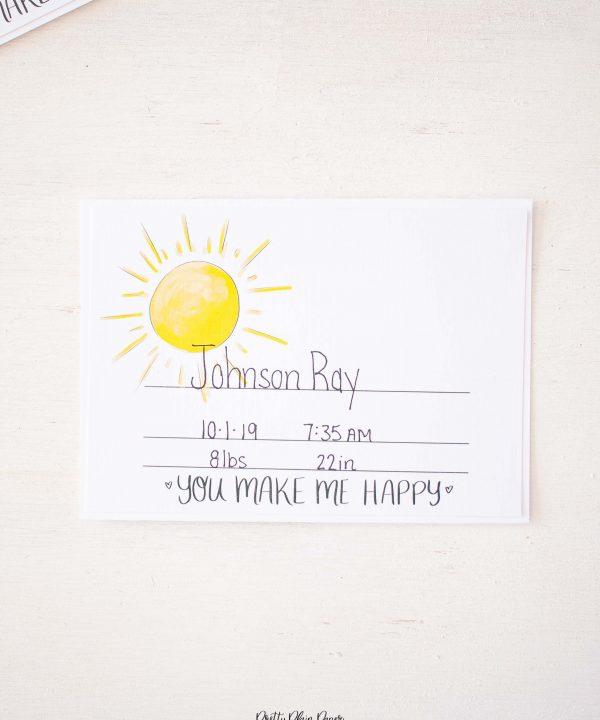 Pretty Plain Paper Newborn Birth Stats Card Printable