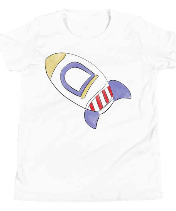 Rocket Ship Watercolor T-Shirt by Pretty Plain Paper