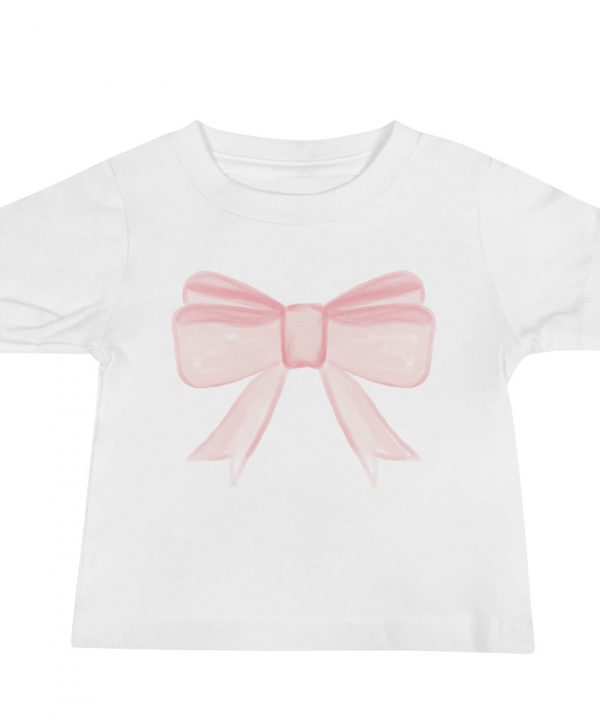 Pink Princess Bow Watercolor T-Shirt by Pretty Plain Paper