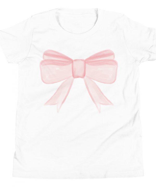 Pink Princess Bow Watercolor T-Shirt by Pretty Plain Paper