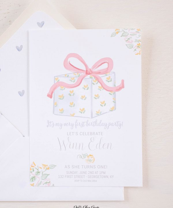 It's My Birthday Party Invitation Watercolor Design by Pretty Plain Paper