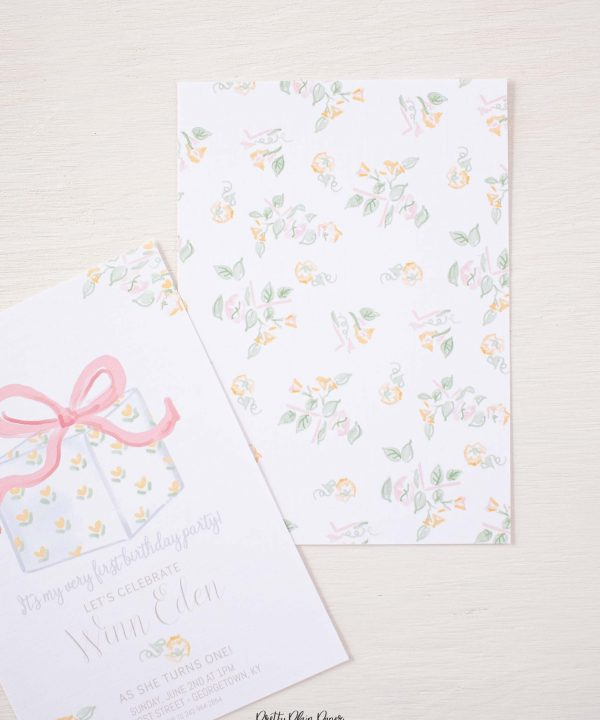 It's My Birthday Party Back of Invitation Watercolor Design by Pretty Plain Paper