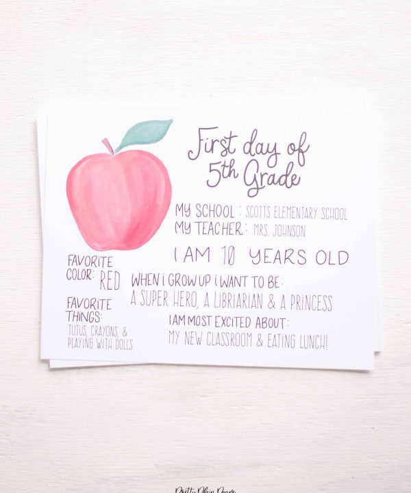 Printable Back to School Sign by Pretty Plain Paper
