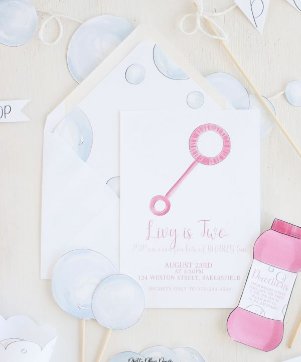 Bubble Birthday Party Printable Invitation by Pretty Plain Paper