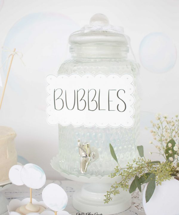 Bubble Birthday Party Printable Bubbles Sign by Pretty Plain Paper