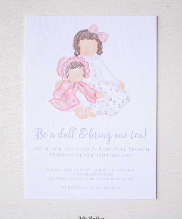 Baby Doll Birthday Party Invitation by Pretty Plain Paper