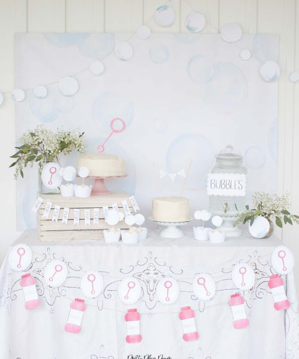 Bubble Birthday Party Printable Cake Table Backdrop by Pretty Plain Paper