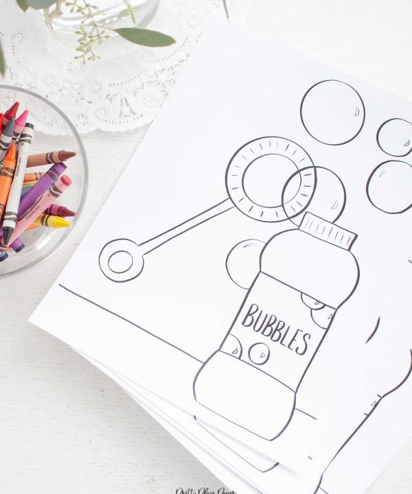 Bubble Birthday Party Printable Coloring Page by Pretty Plain Paper