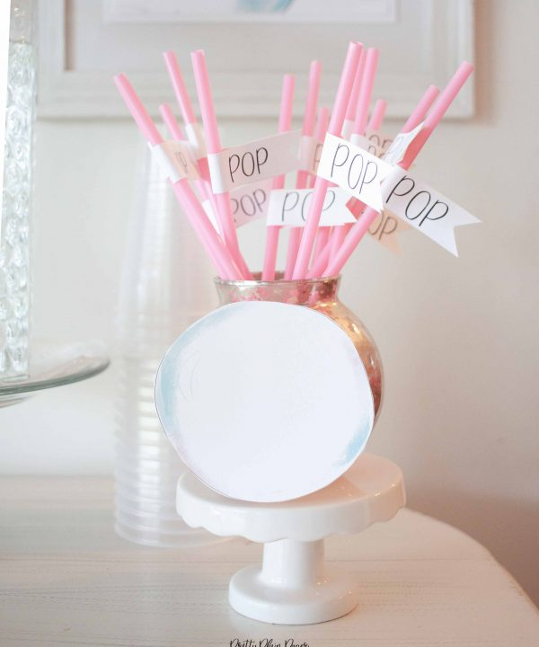 Bubble Birthday Party Printable Straw Flags by Pretty Plain Paper