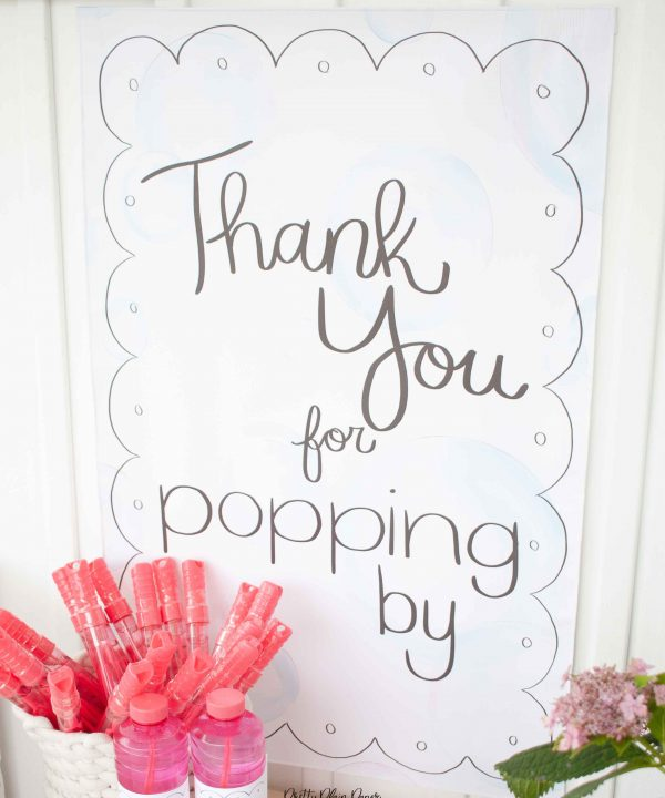 Bubble Birthday Party Printable Thank You for Popping By Sign by Pretty Plain Paper