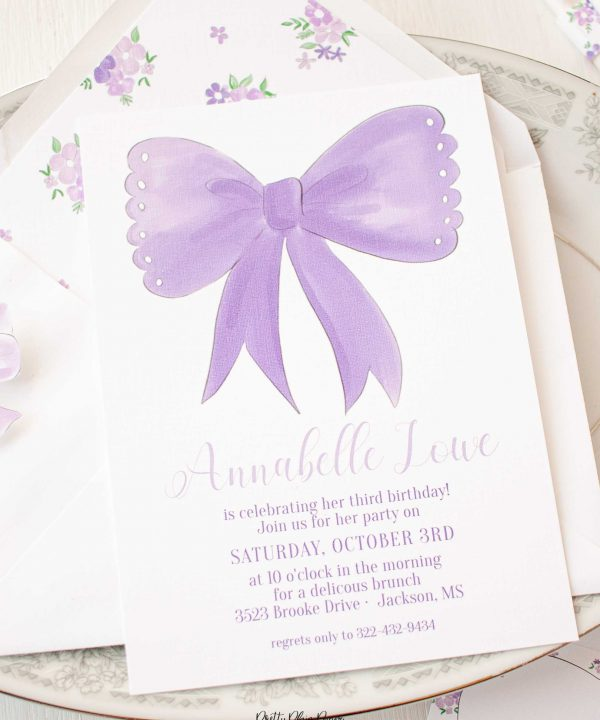 Lavender Purple Bow Birthday Party Printable Invitation Set by Pretty Plain Paper