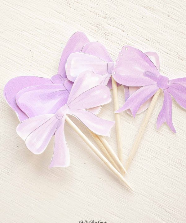 Lavender Purple Bow Birthday Party Printable Cupcake Toppers by Pretty Plain Paper