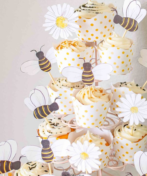 Bee & Honey Birthday Party Printable Cupcake Toppers by Pretty Plain Paper