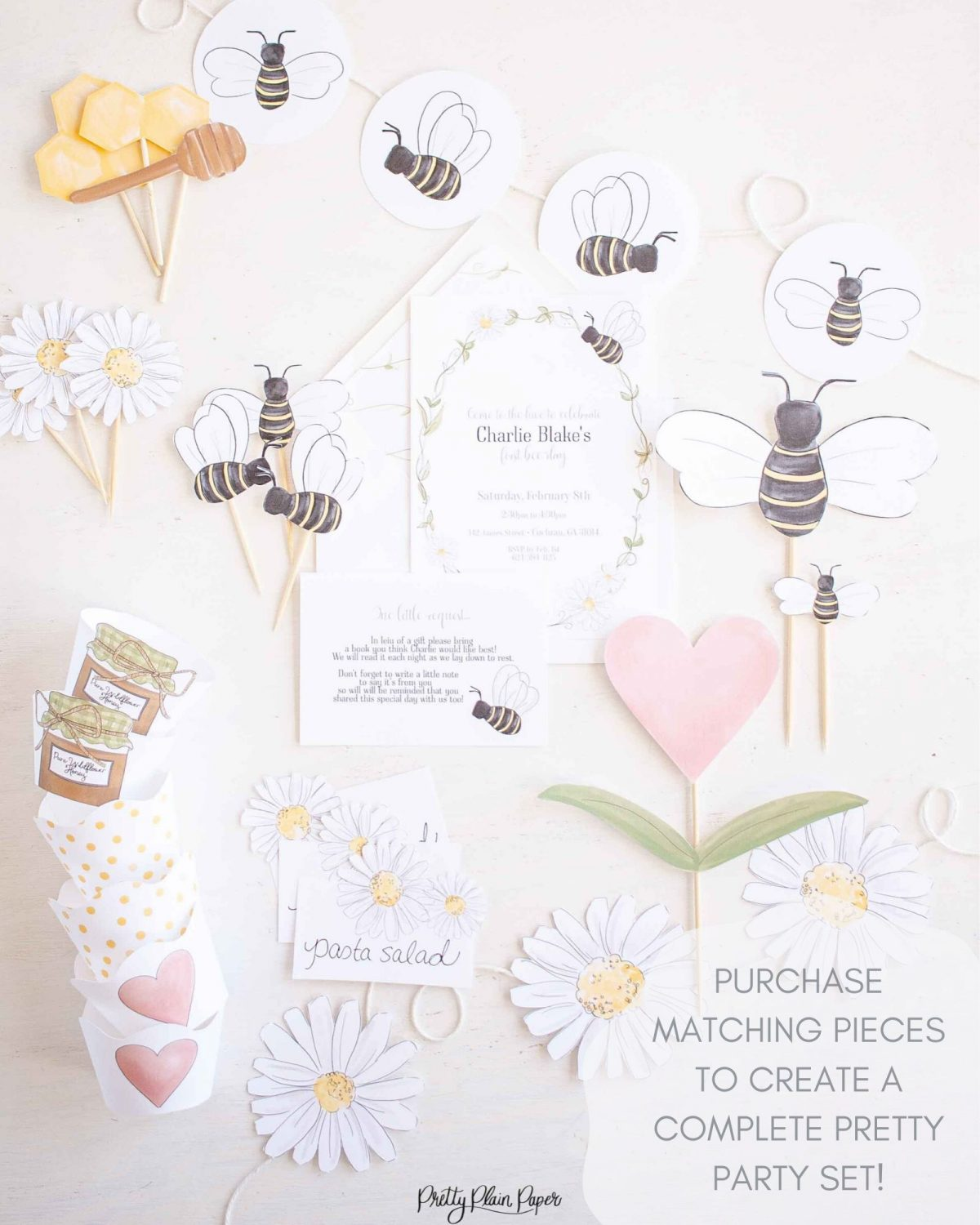 Bee & Honey Birthday Party Printable Party Set by Pretty Plain Paper