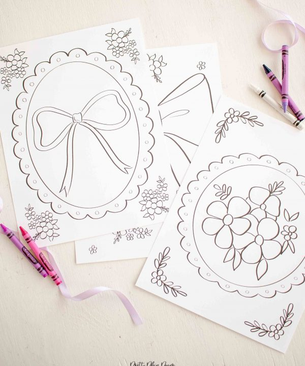 Lavender Purple Bow Birthday Party Printable Coloring Pages by Pretty Plain Paper