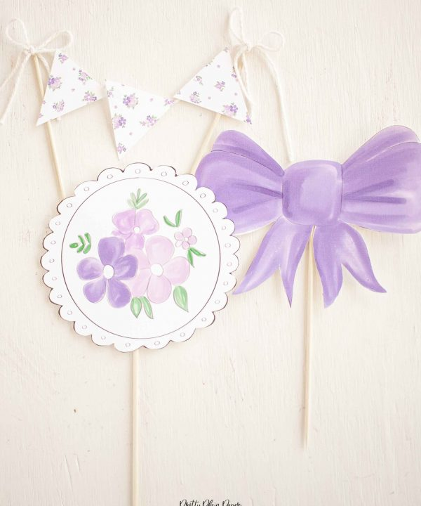 Lavender Purple Bow Birthday Party Printable Cake Toppers by Pretty Plain Paper