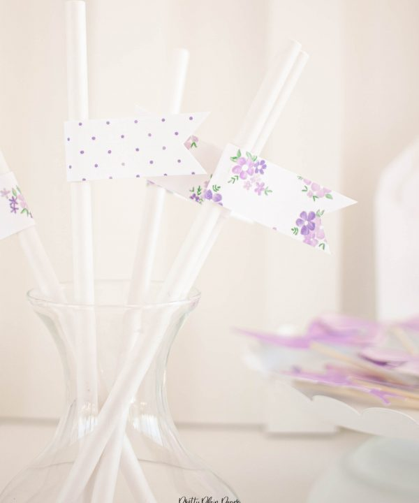 Lavender Purple Bow Birthday Party Printable Straw Flags by Pretty Plain Paper