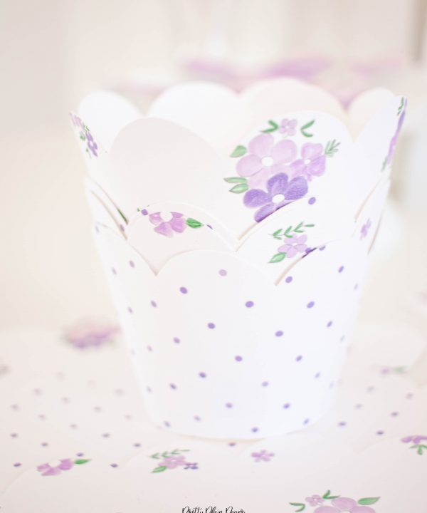 Lavender Purple Bow Birthday Party Printable Cupcake Wrappers by Pretty Plain Paper