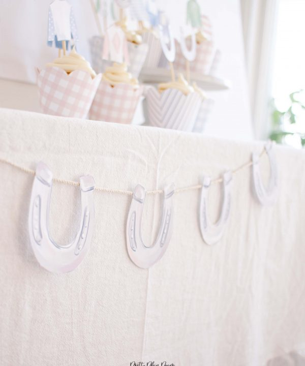 Horseshoe Printable Banner Party Decor by Pretty Plain Paper
