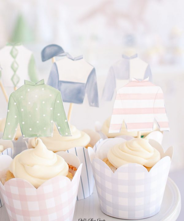 Kentucky Derby Jockey Silk Watercolor Cupcake Toppers Party Printable by Pretty Plain Paper