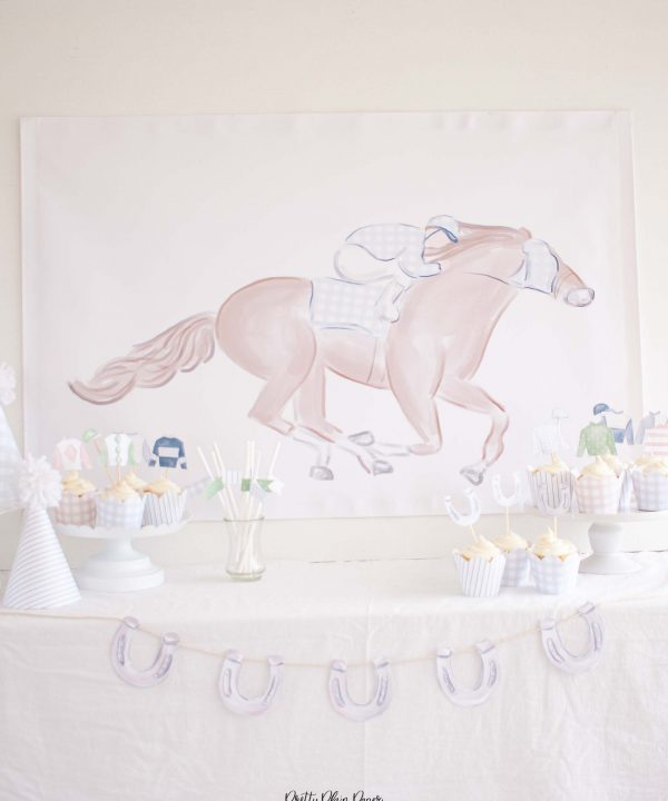 Horse Racing Party Backdrop Printable Party Set by Pretty Plain Paper