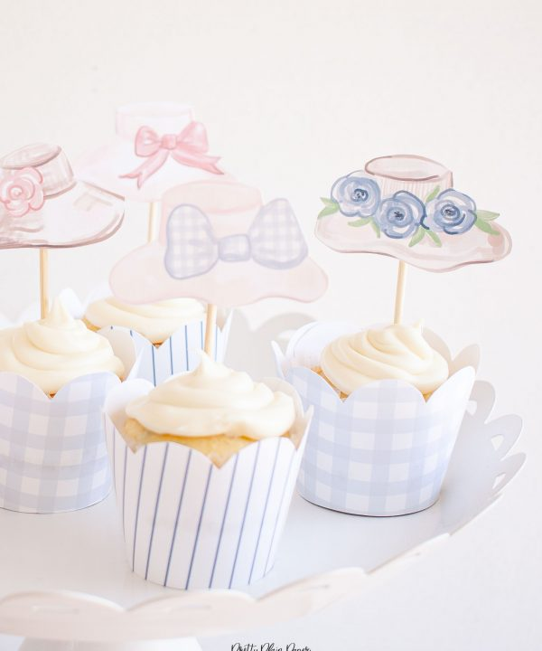 Fancy Hat, Derby Hat Watercolor Cupcake Toppers Party Printable by Pretty Plain Paper