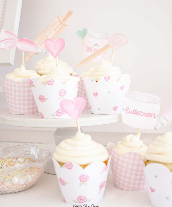 Cake Party Cupcake Toppers Printable by Pretty Plain Paper