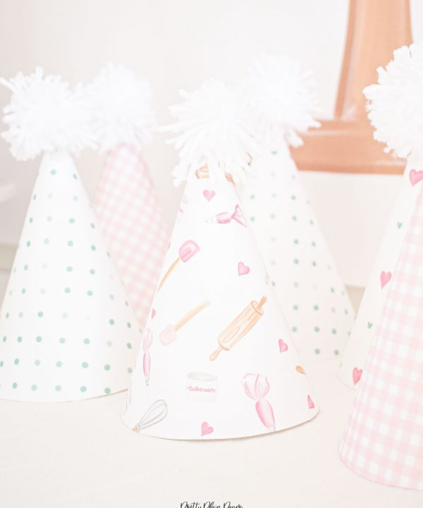 Gingham, Floral, and Pattern Party Hats Printable by Pretty Plain Paper