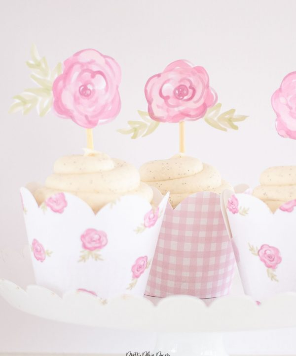Cake Party Pink Rose Cupcake Toppers Printable by Pretty Plain Paper